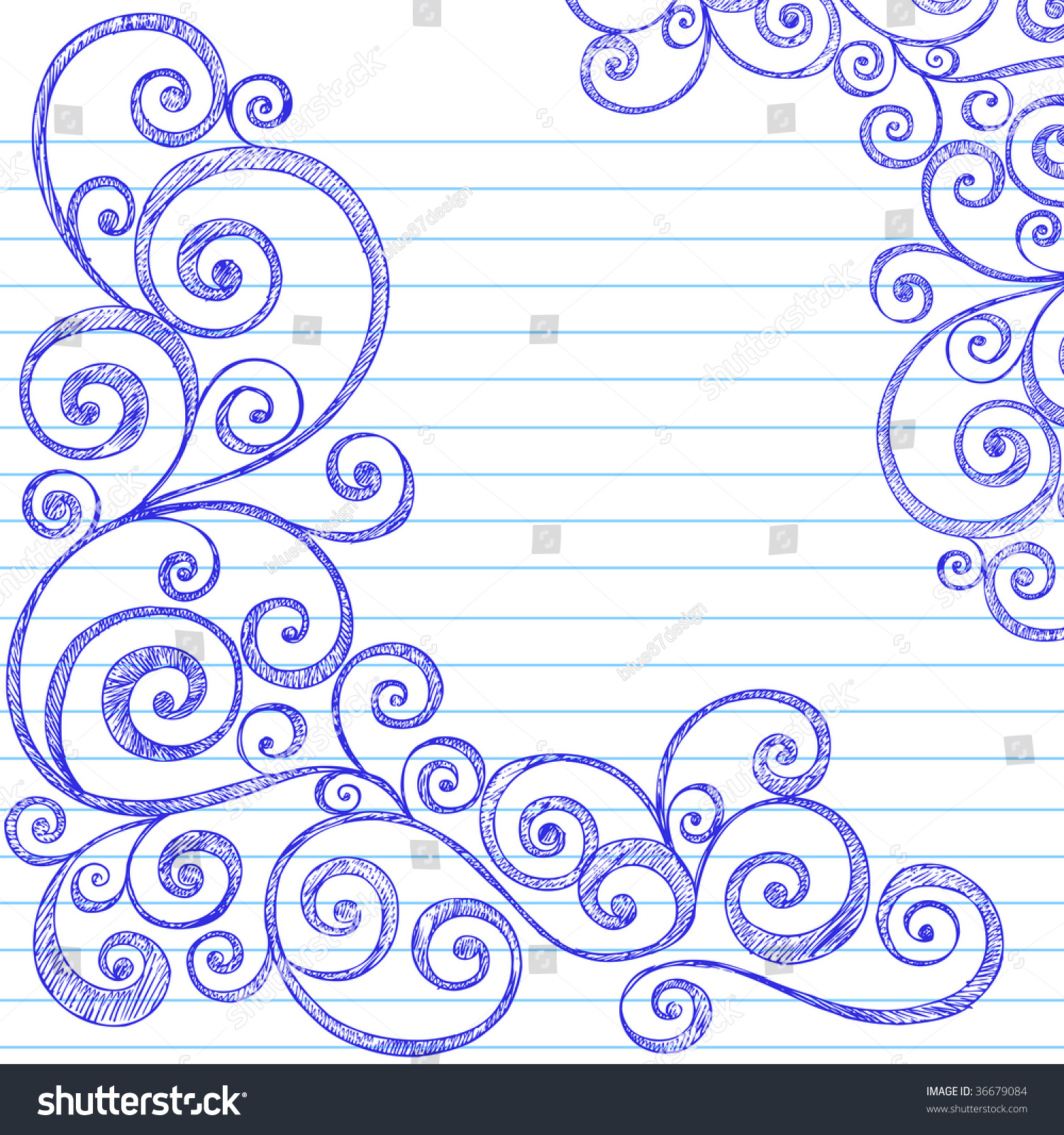 Handdrawn Sketchy Doodles Swirly Border On Stock Vector