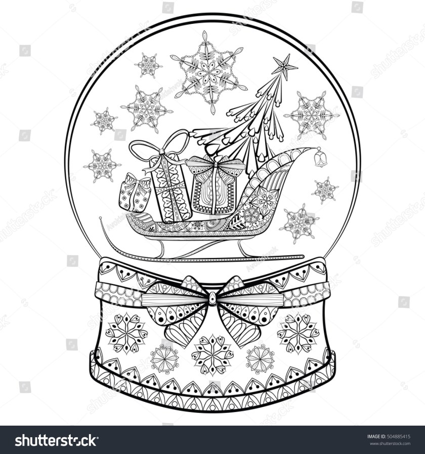 hand drawn snow globe sledge christmas stock vector