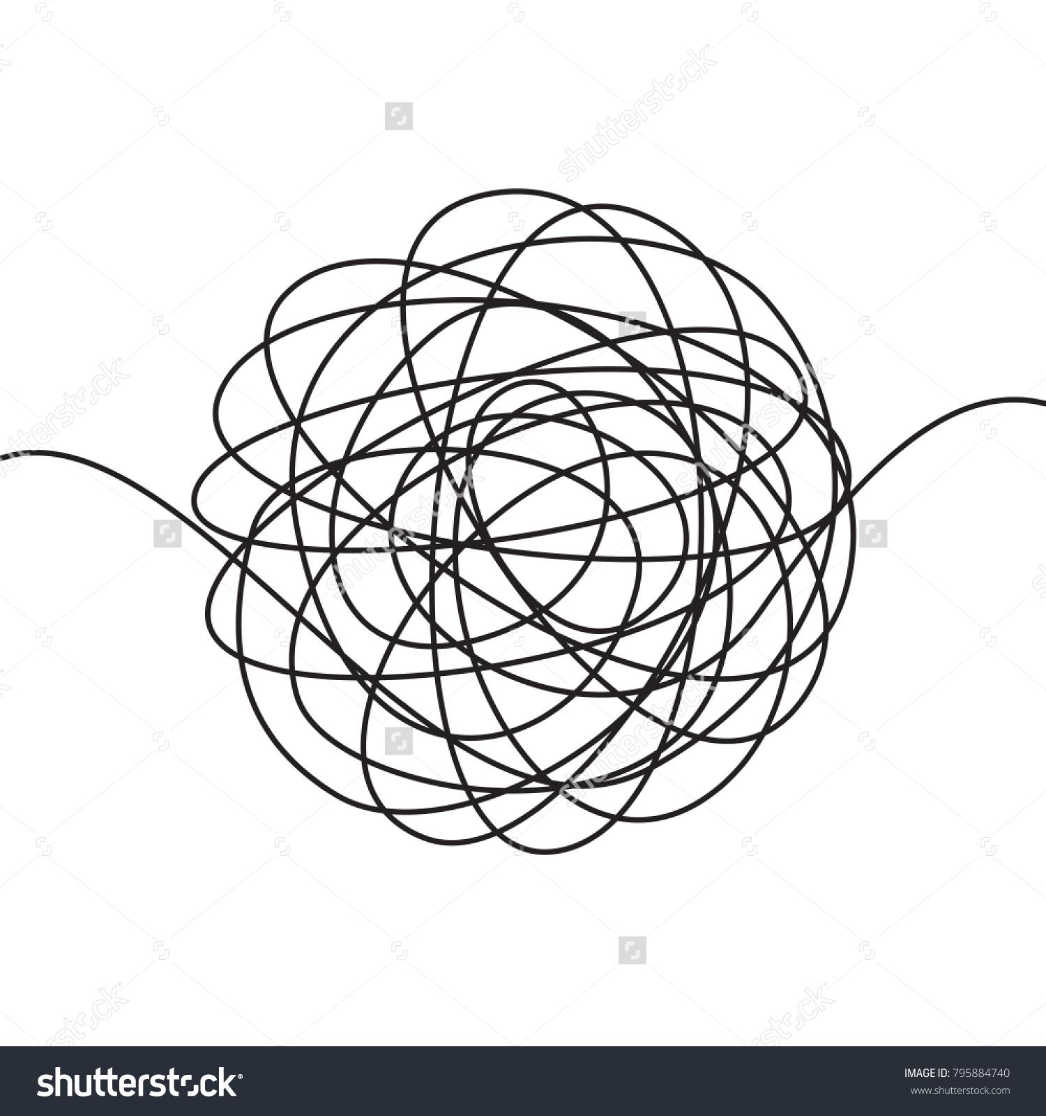 Hand drawn tangle scrawl sketch black stock vector hd royalty free