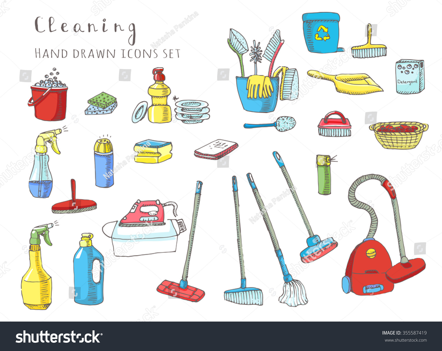 Hand Drawn Vector Cleaning Service Icons Set Clean