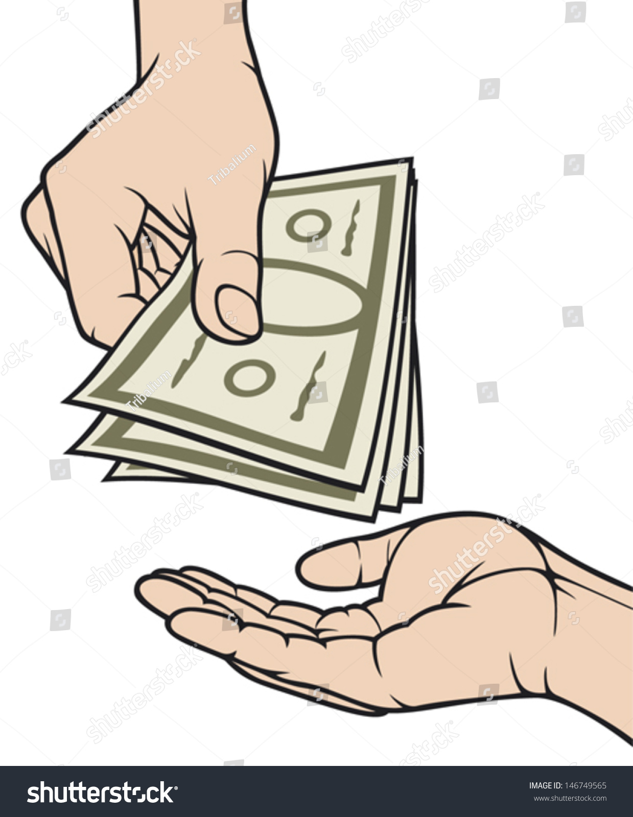 Hands Giving And Receiving Money Stock Vector Illustration