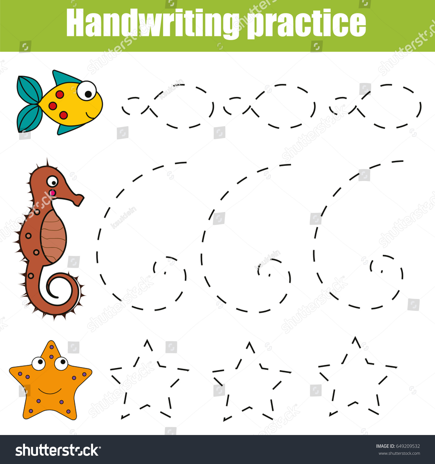 Handwriting Practice Sheet Educational Children Game Stock