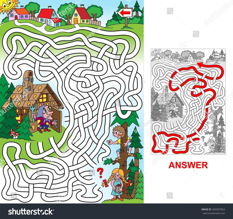 Hansel Gretel Kids Lost Forest Help Stock Vector