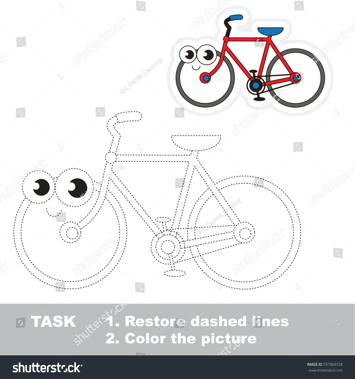 Happy Alive Twowheeled Bicycle Dot Dot Stock Vector