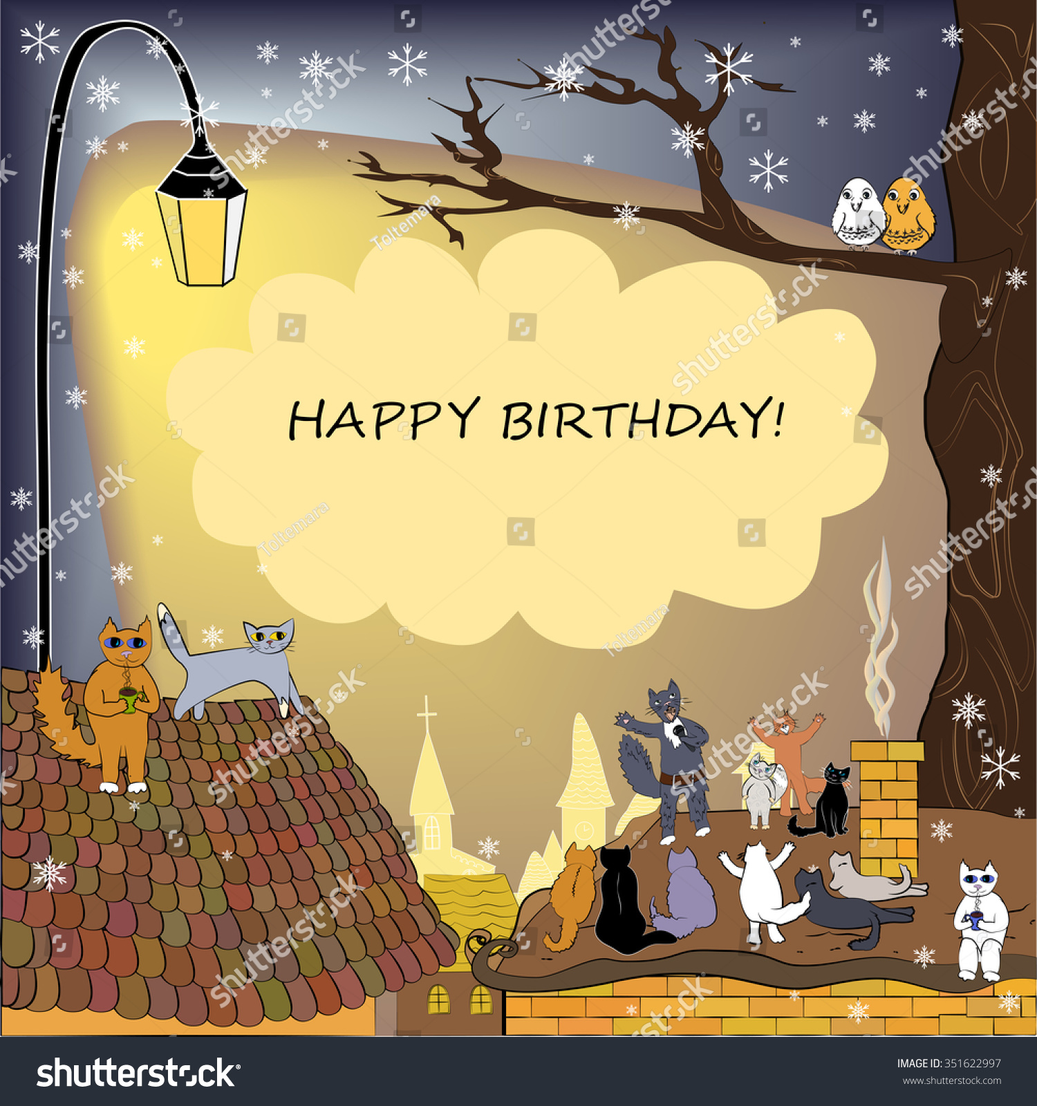 Happy Birthday Card Winter Frame Cats Stock Vector Royalty Free 351622997