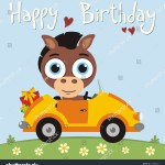 Happy Birthday Funny Horse Going Car Stock Vector Royalty Free 619789661