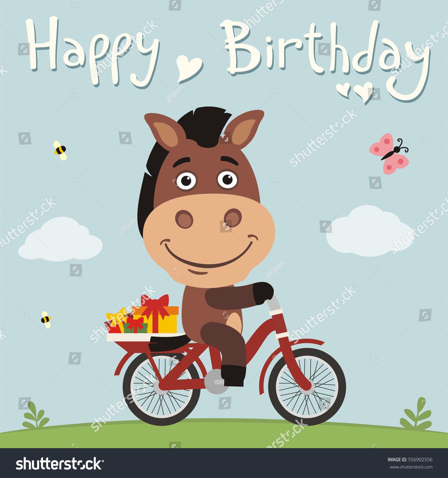 Happy Birthday Funny Horse On Bike Stock Vector Royalty Free 556902556
