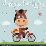 Vector De Stock Libre De Regalias Sobre Happy Birthday Funny Horse On Bike556902556