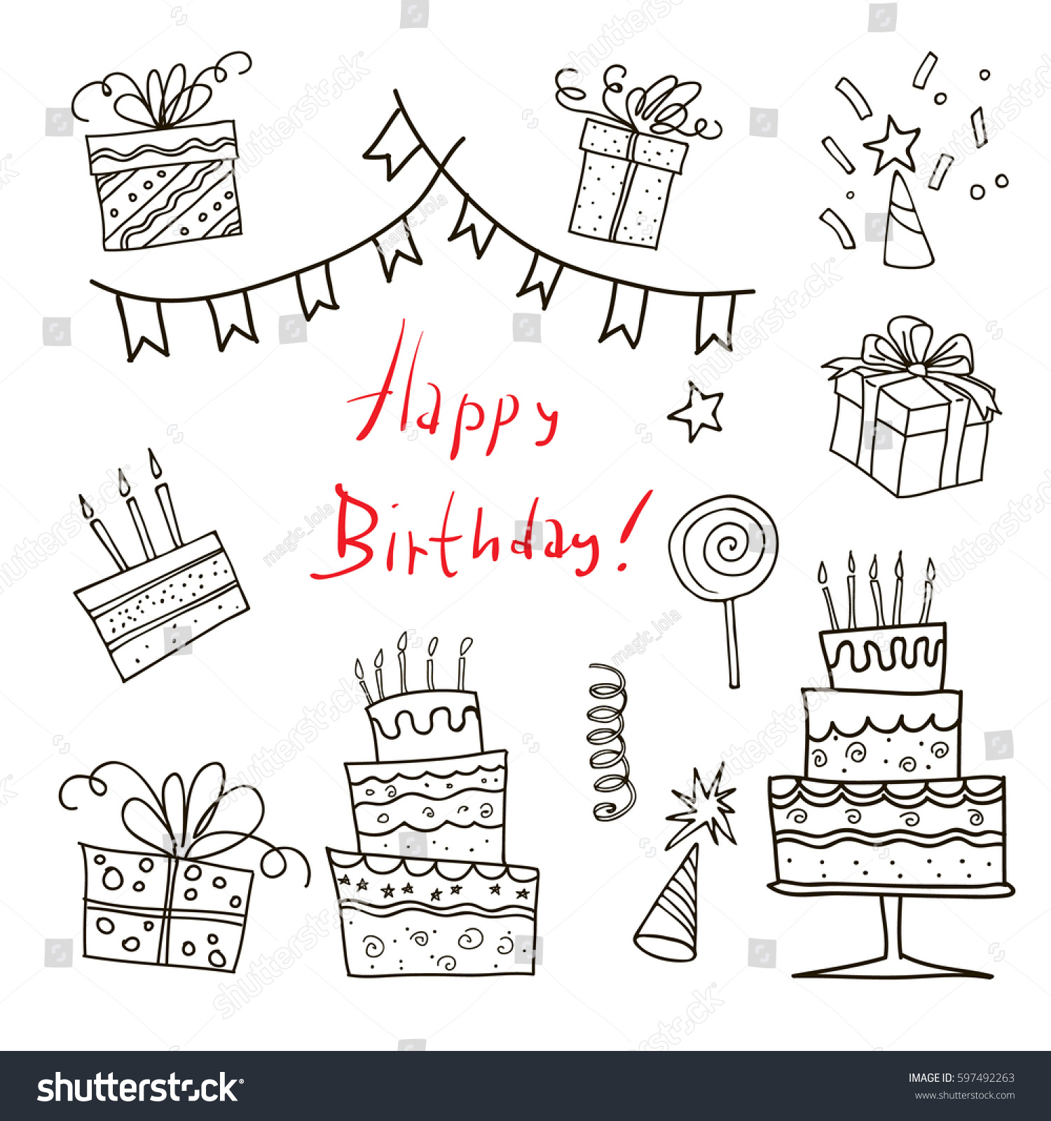 Happy Birthday Hand Drawn Sketch Set Stock Vector
