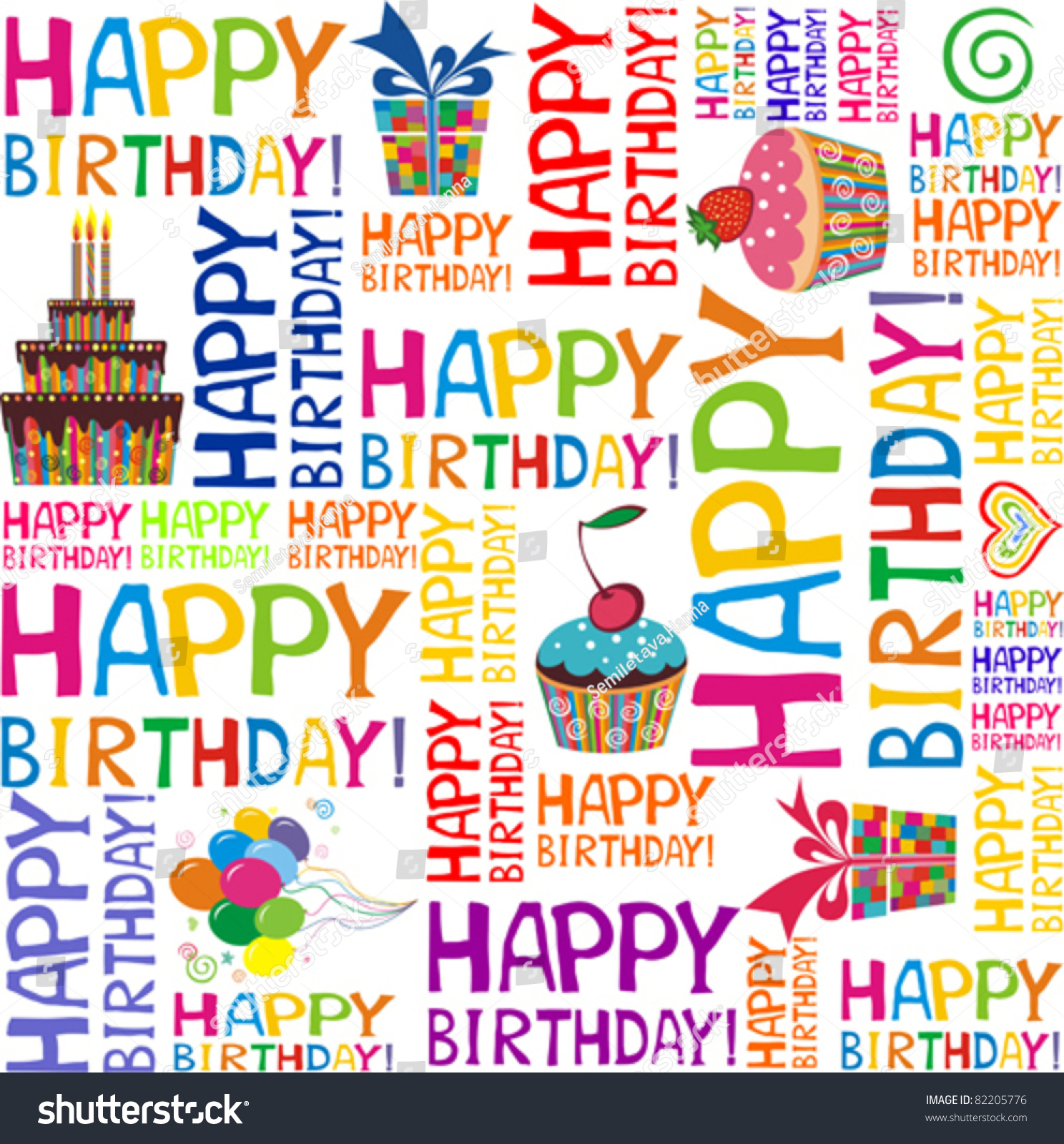 Happy Birthday Seamless Background Pattern Vector Stock