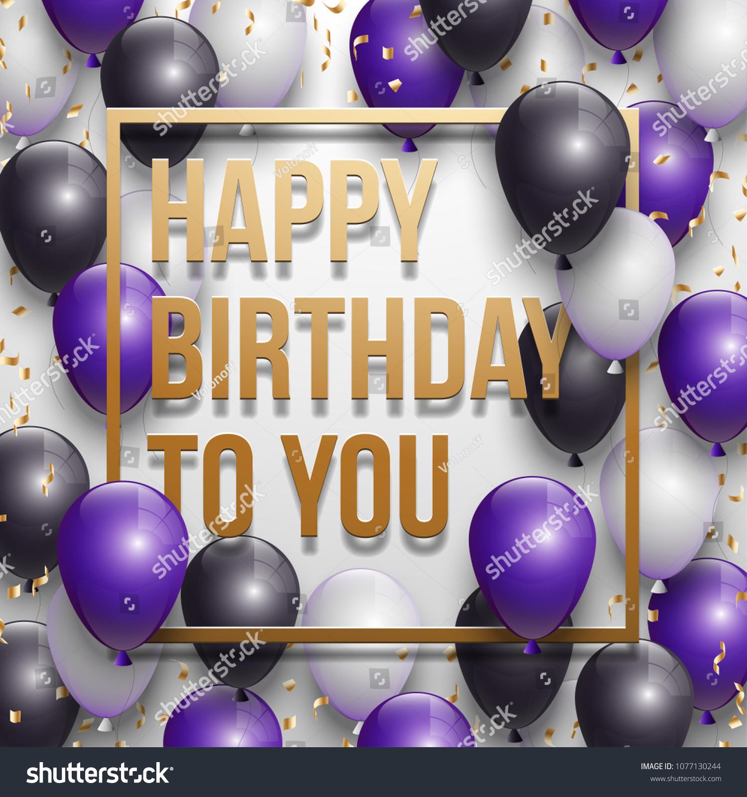 Happy Birthday Vector Illustration Golden Foil Stock Vector Royalty Free 1077130244