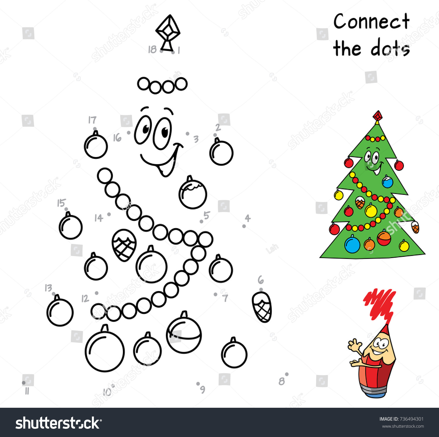 Happy Christmas Tree Connect Dots Coloring Stock Vector