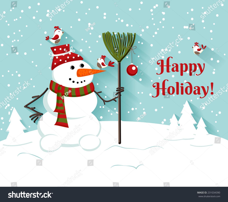 Happy Holiday Snowman Illustrationeeting Card Vector
