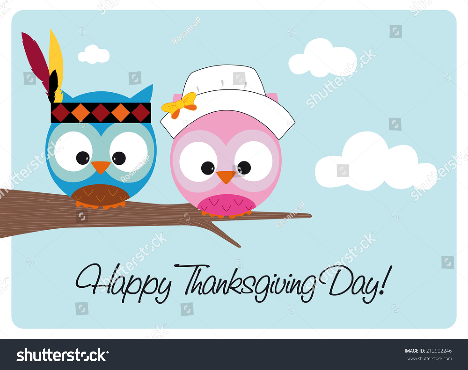 Happy Thanksgiving Day Card Two Cute Stock Vector Royalty Free 212902246