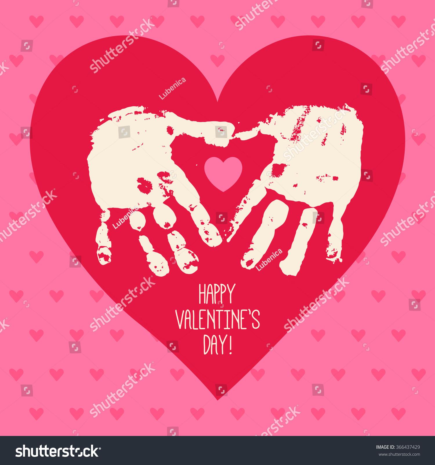 Happy Valentine S Day Card Design With Handprint Heart