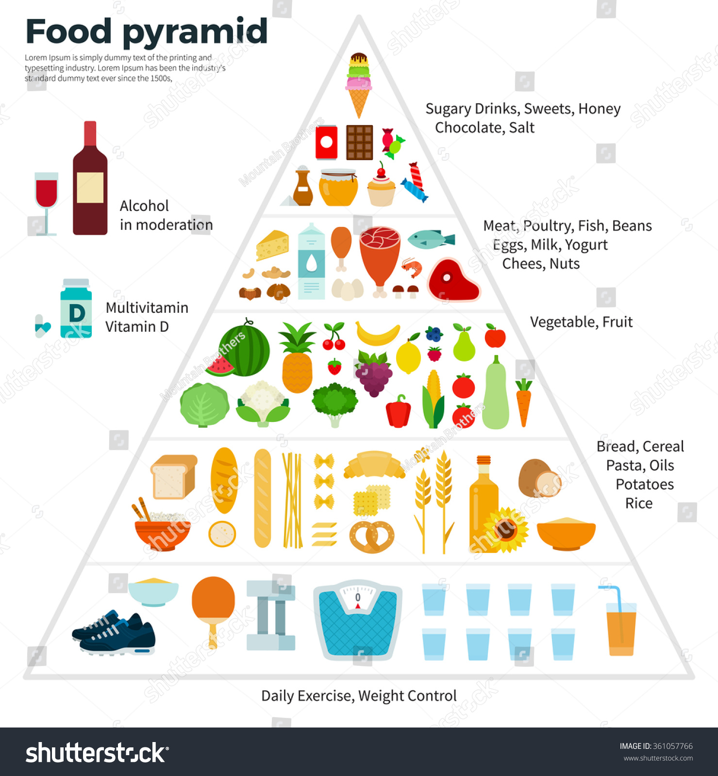 Healthy Eating Concept Food Guide Pyramid Of Vegetables