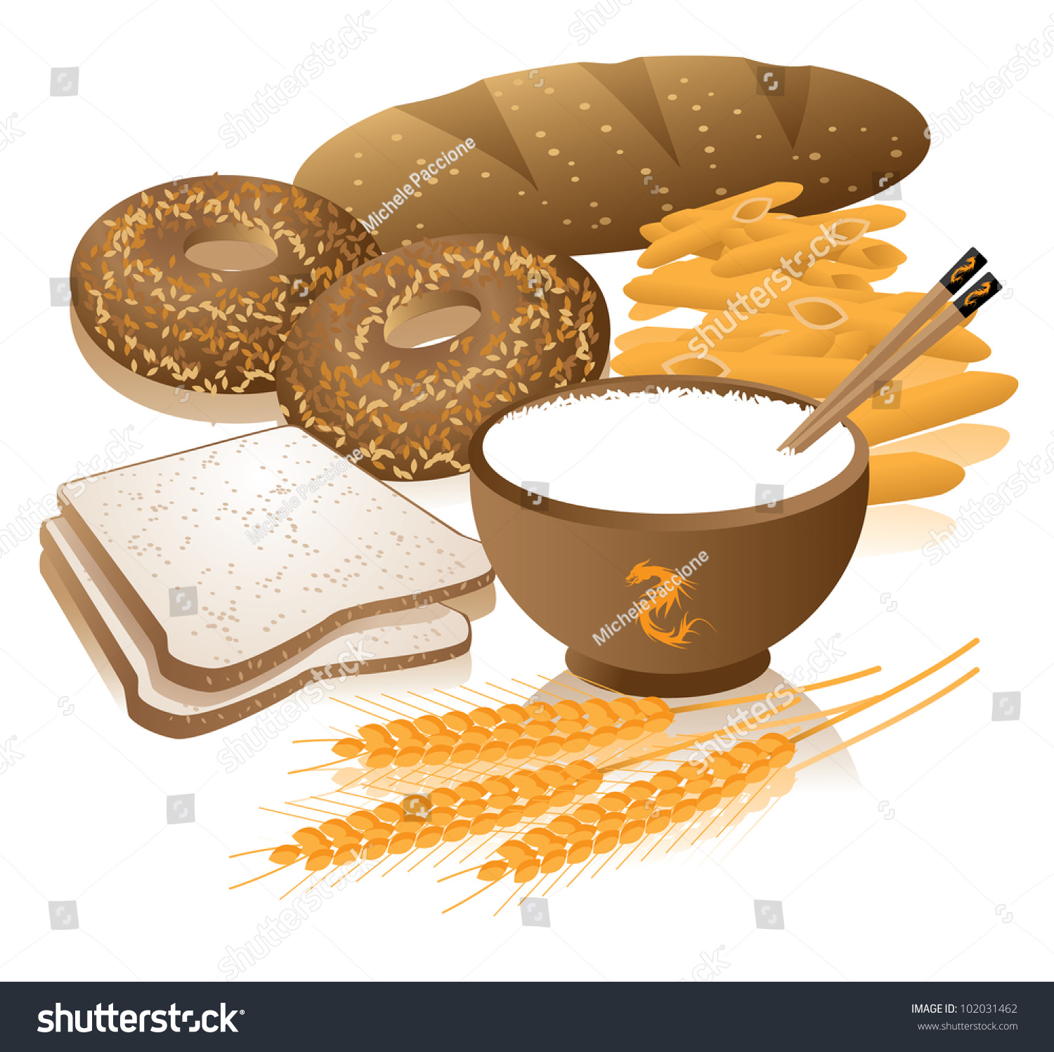 Healthy Grains Food Group Eps 8 Stock Vector
