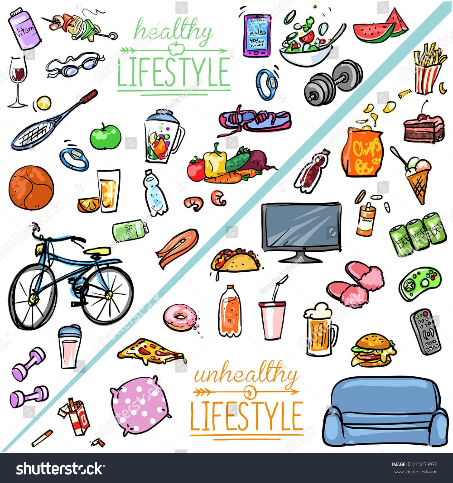 Healthy Lifestyle Vs Unhealthy Lifestyle Hand Stock Vector