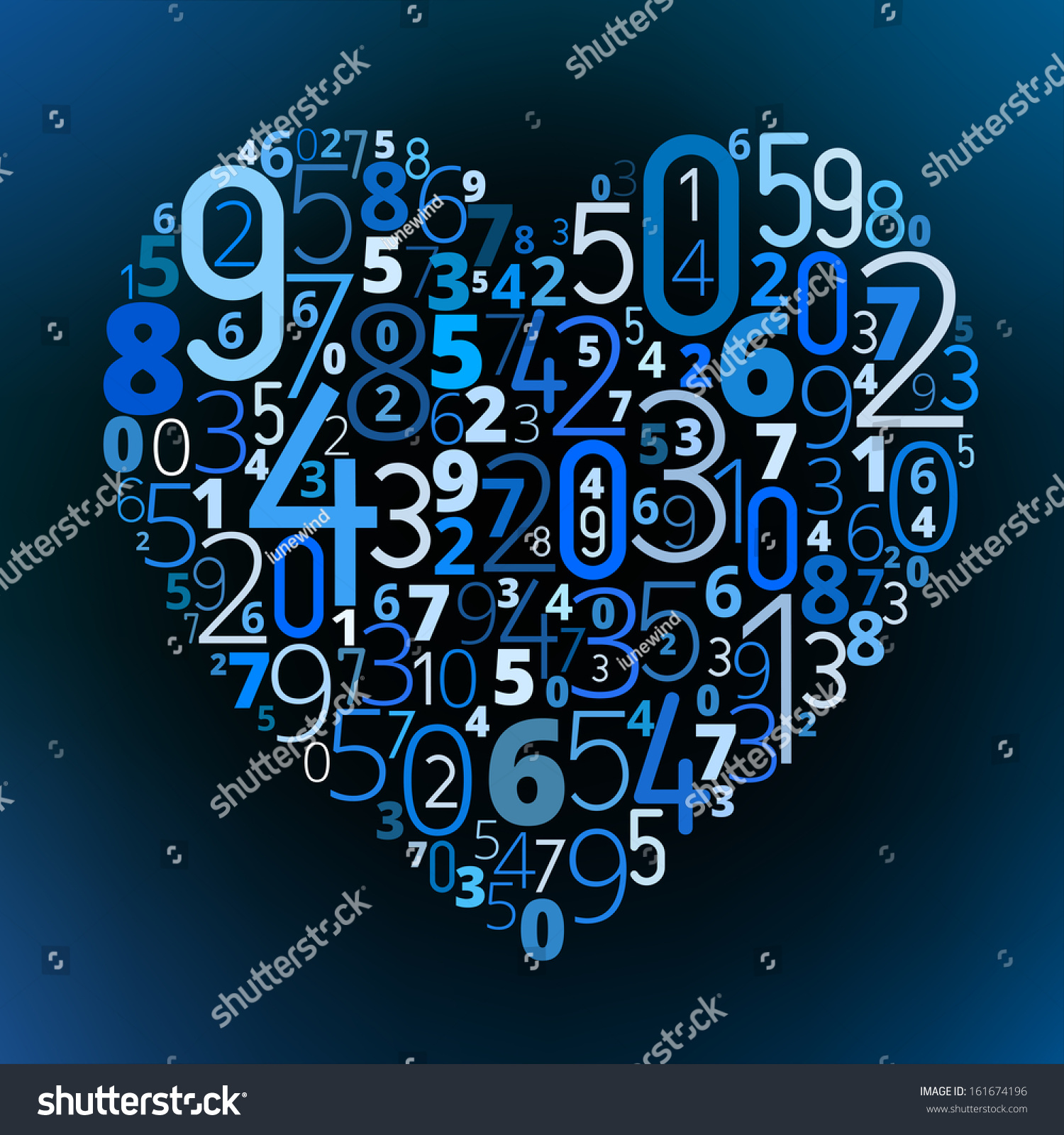 Heart Shape From Different Numbers Vector Love Math Symbol