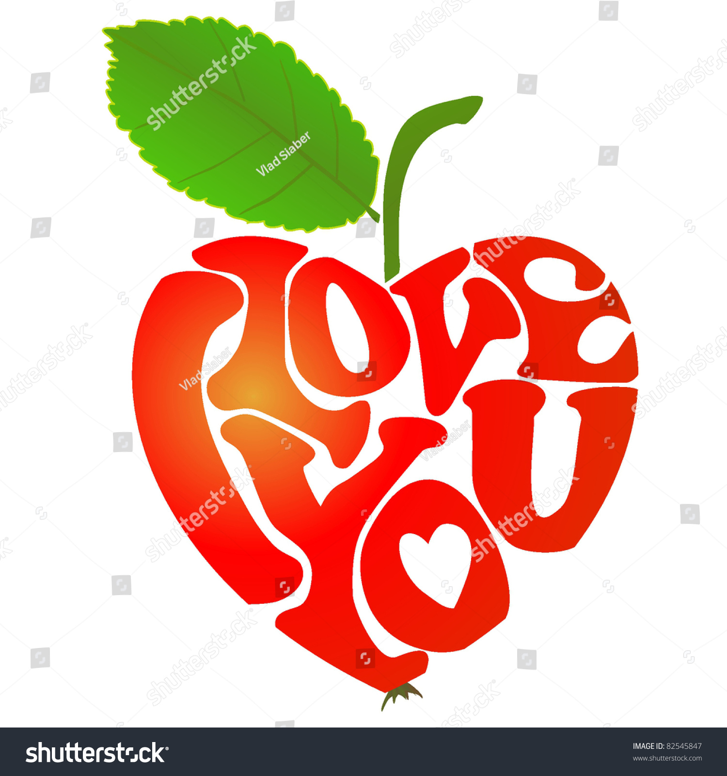 Heartshaped Apple Words I Love You Stock Vector