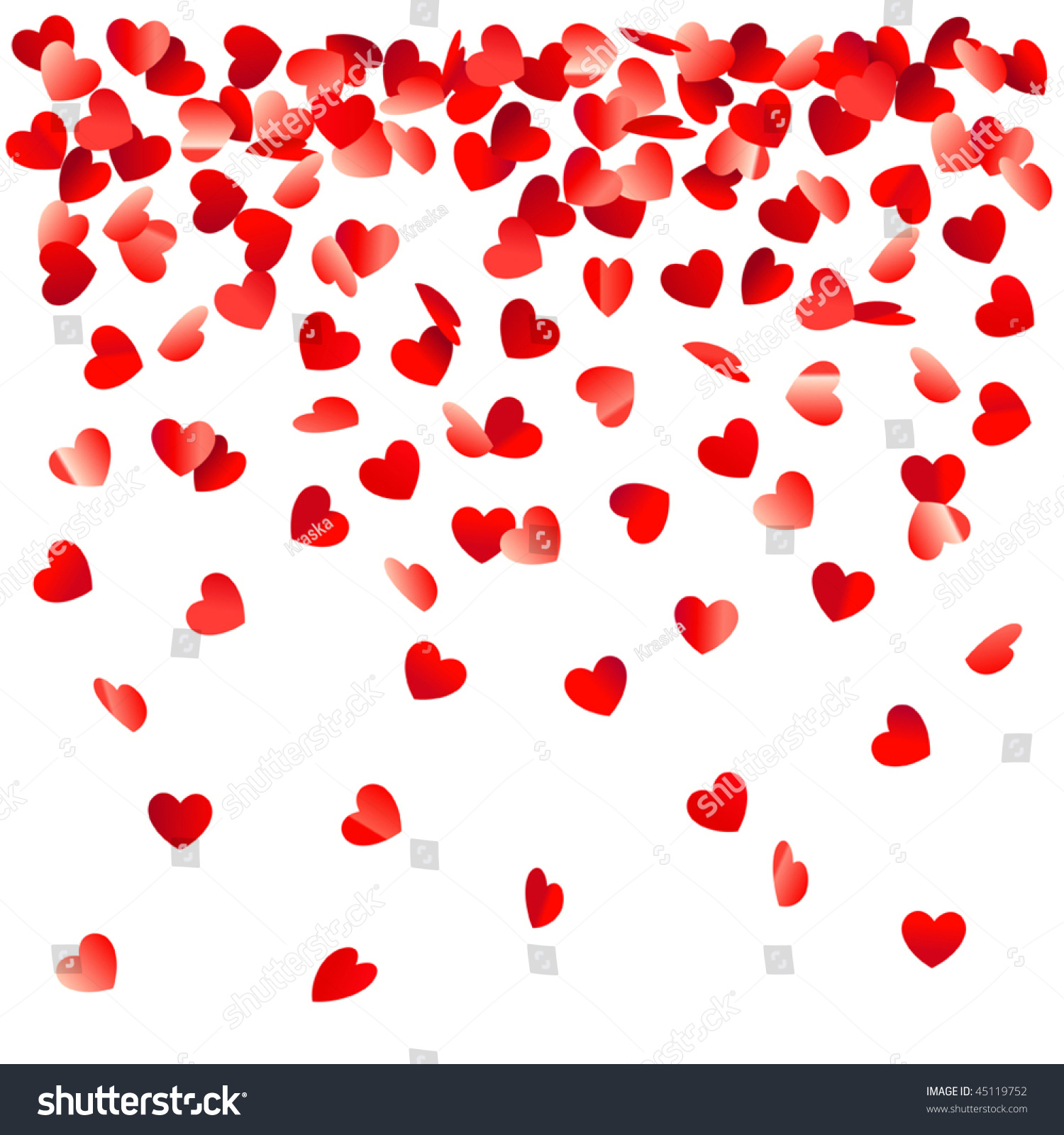 Heart Shaped Confetti Falling Down Stock Vector 45119752