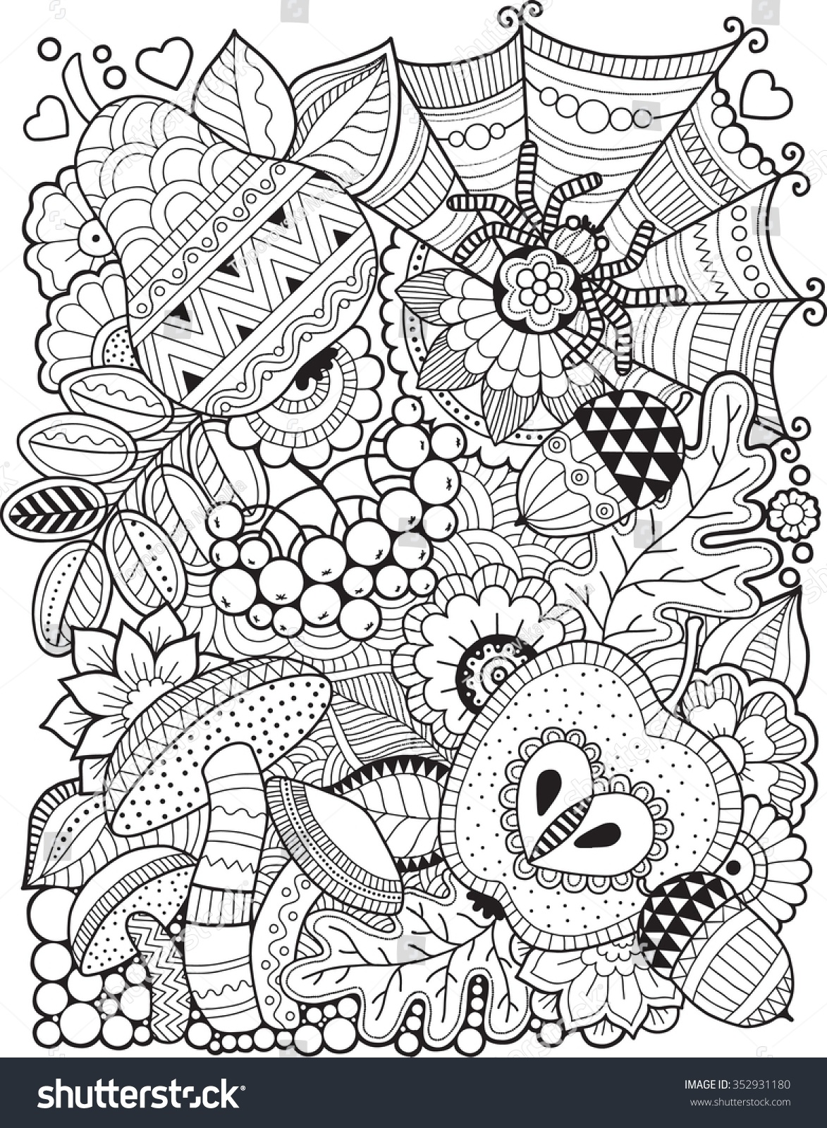 Hello Autumn Coloring Book For Adult Stock Vector