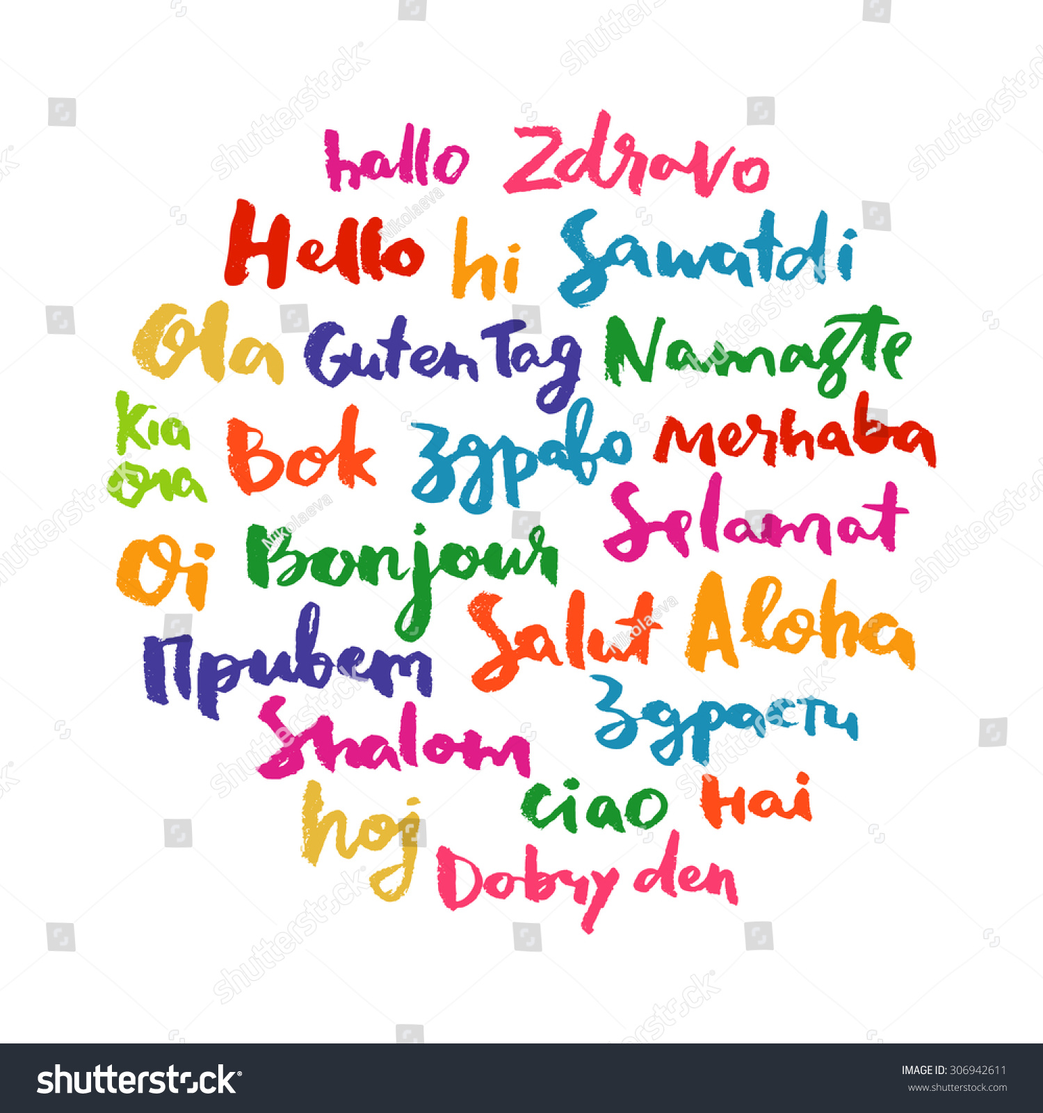 Hello Speech Bubble Word Cloud Different Stock Vector