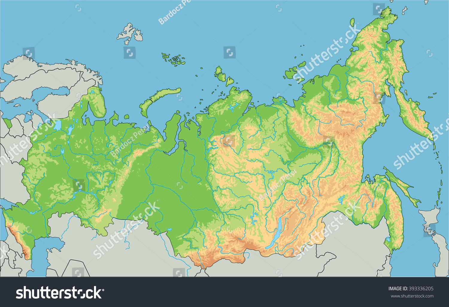 High Detailed Russia Physical Map Stock Vector