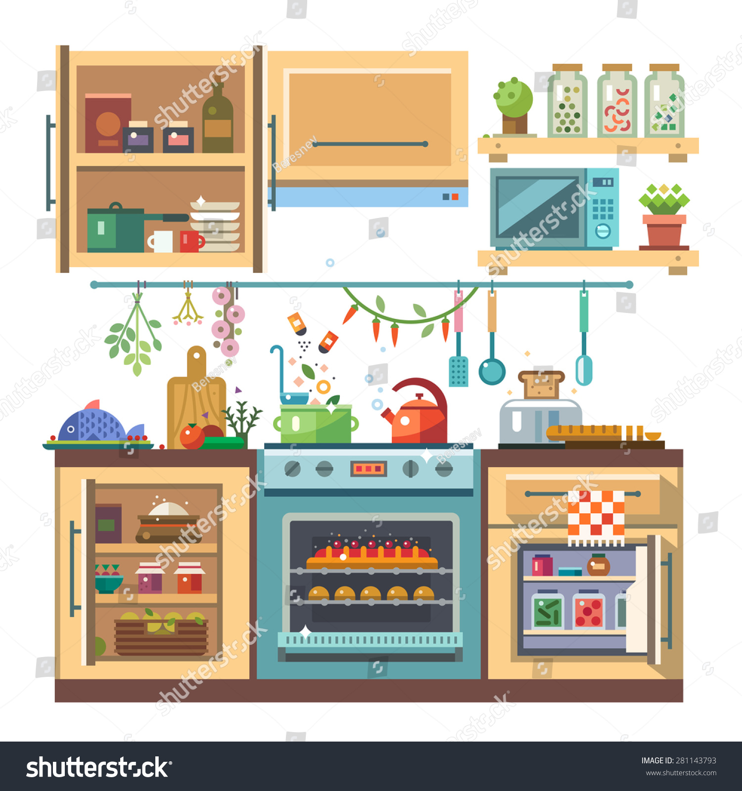 Home Kitchenware Food Devices Color Vector Stock Vector