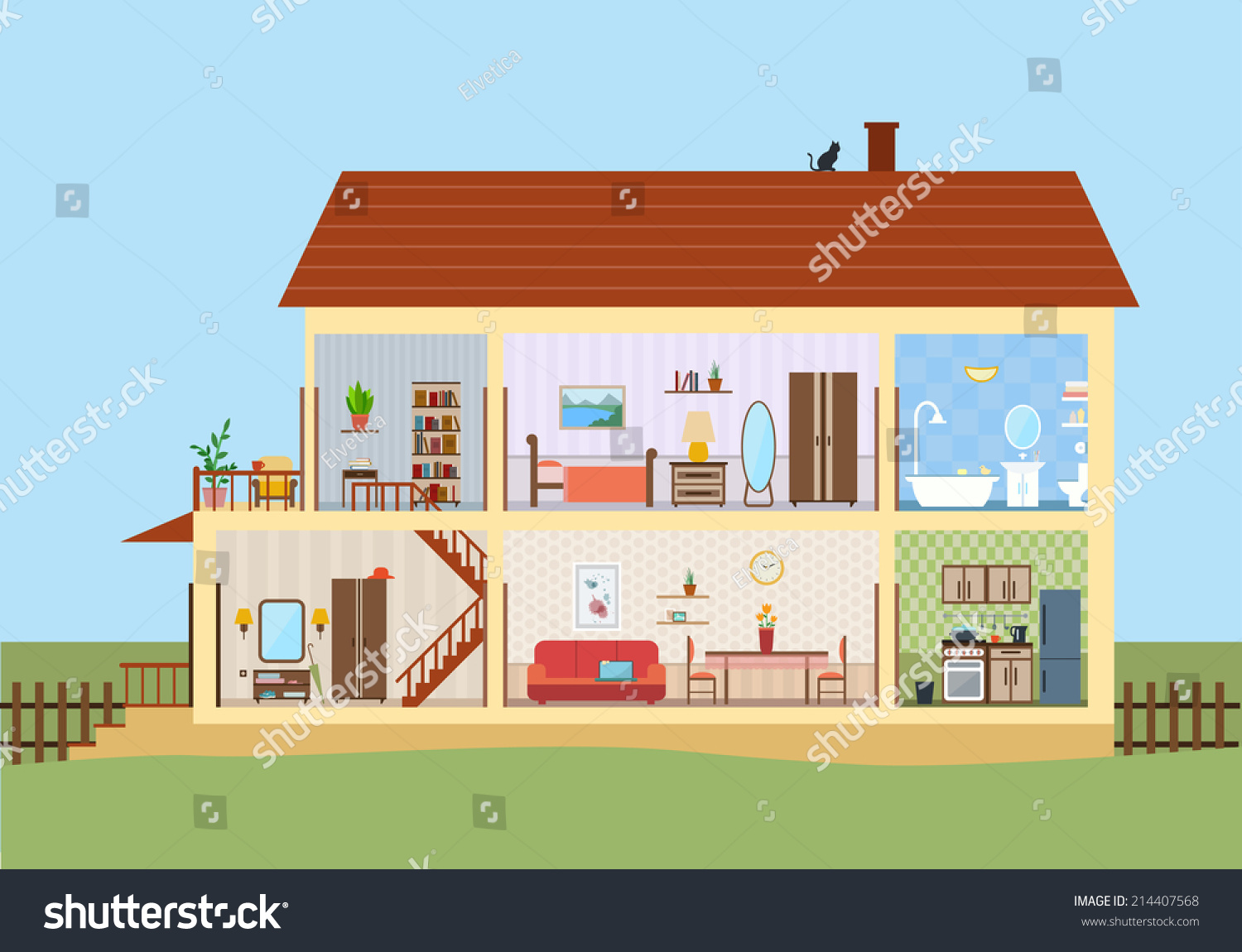 House In Cut Detailed Modern House Interior Rooms With