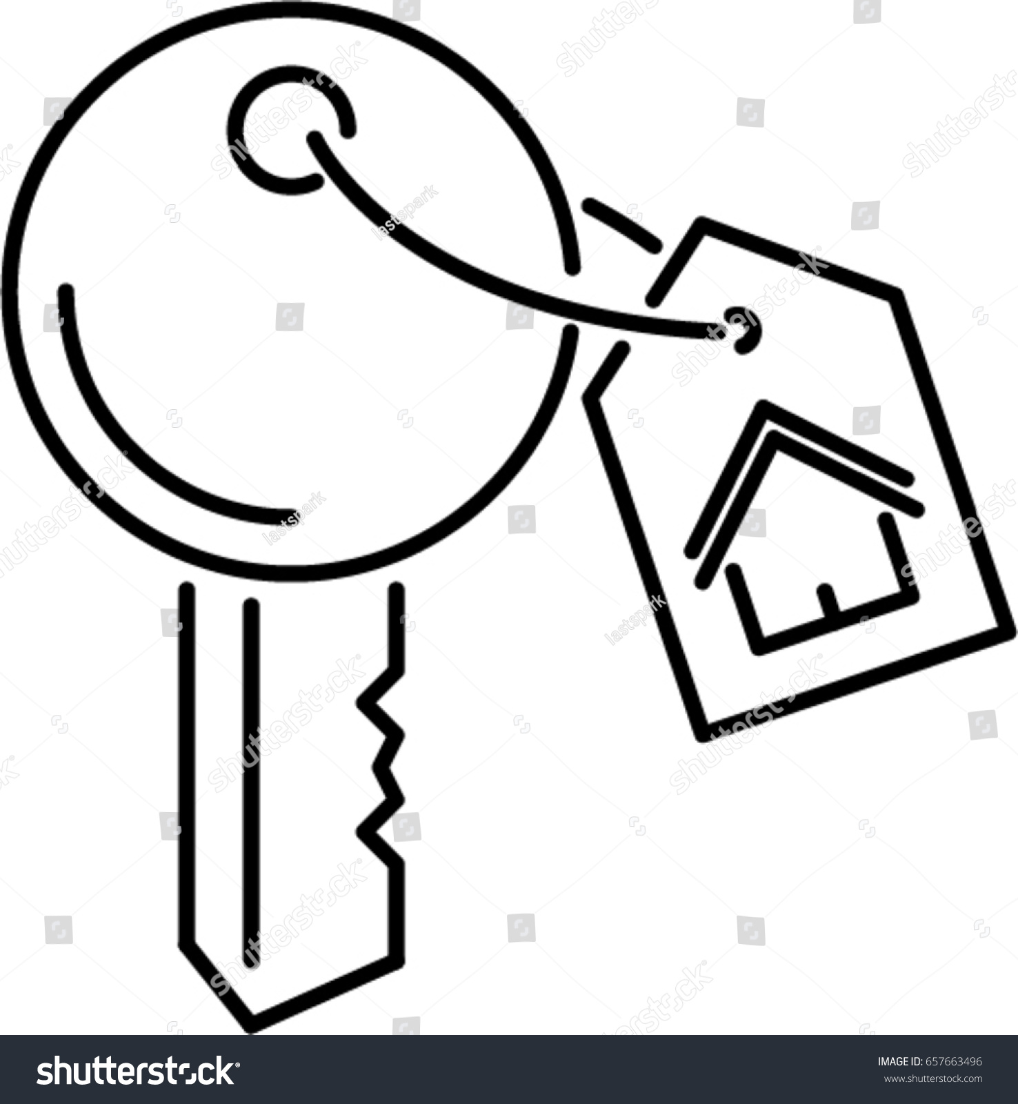 Stock vector house key outline icon 657663496