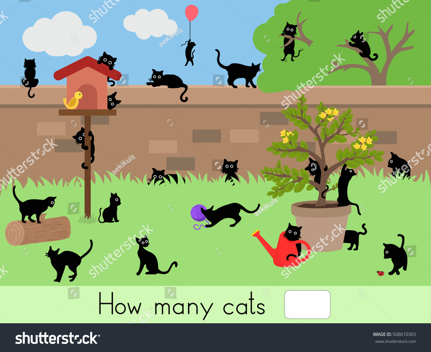 How Many Cats Counting Game Worksheet