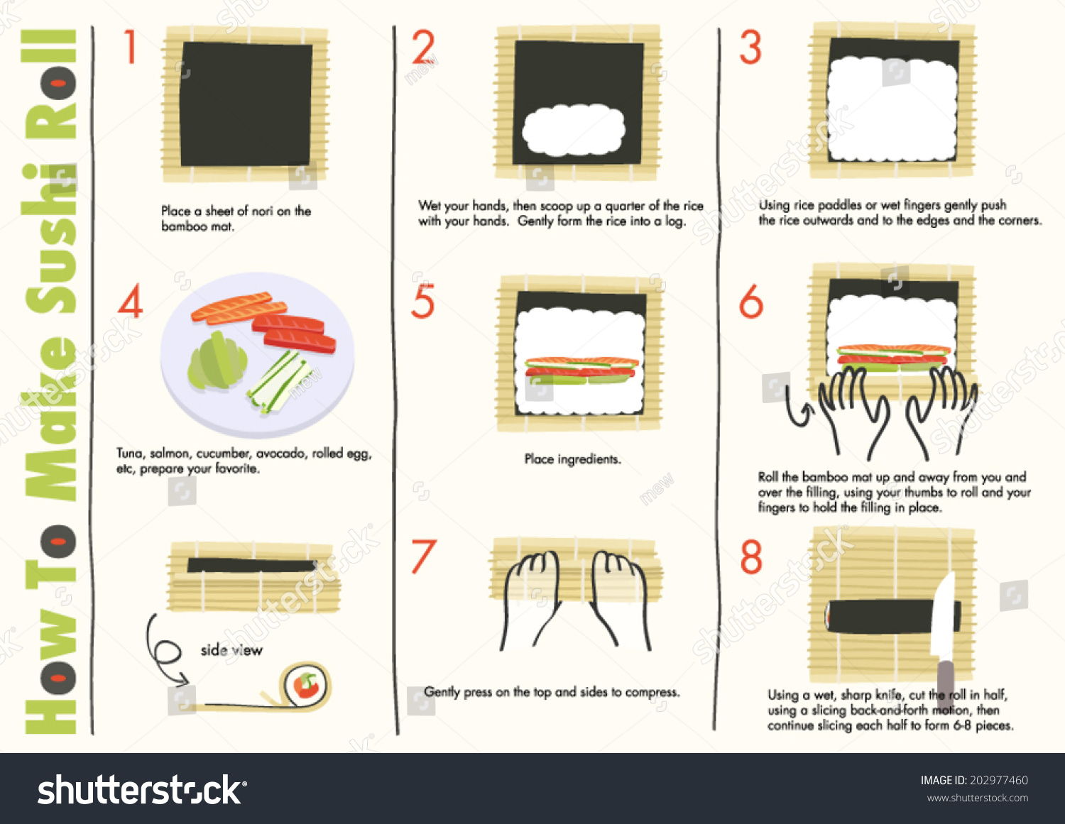 How Make Sushi Rolls Making Sushi Stock Vector