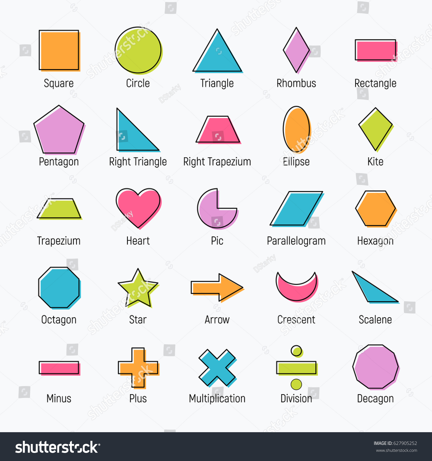 Huge Set Vector Shapes Design Square Stock Vector