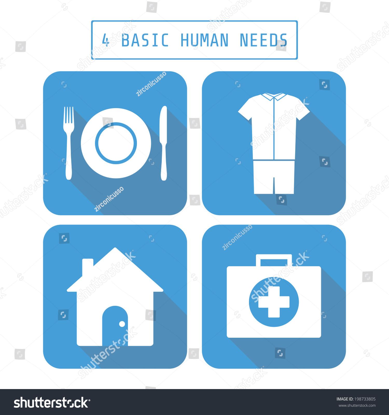 Icon Four Basic Human Needs Flat Stock Vector