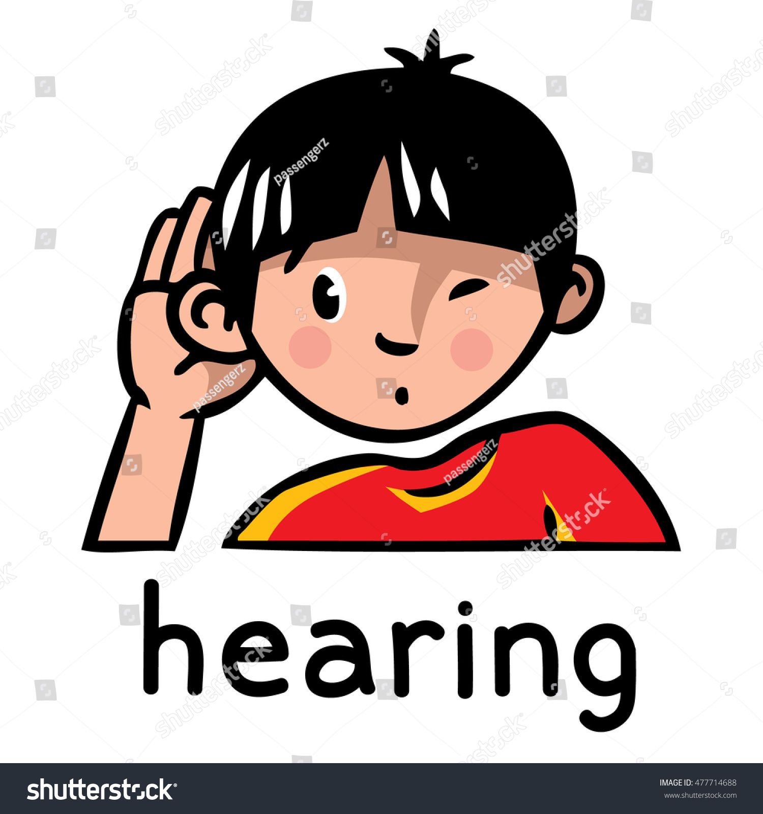 Icons One Five Senses Hearing Children Stock Vector