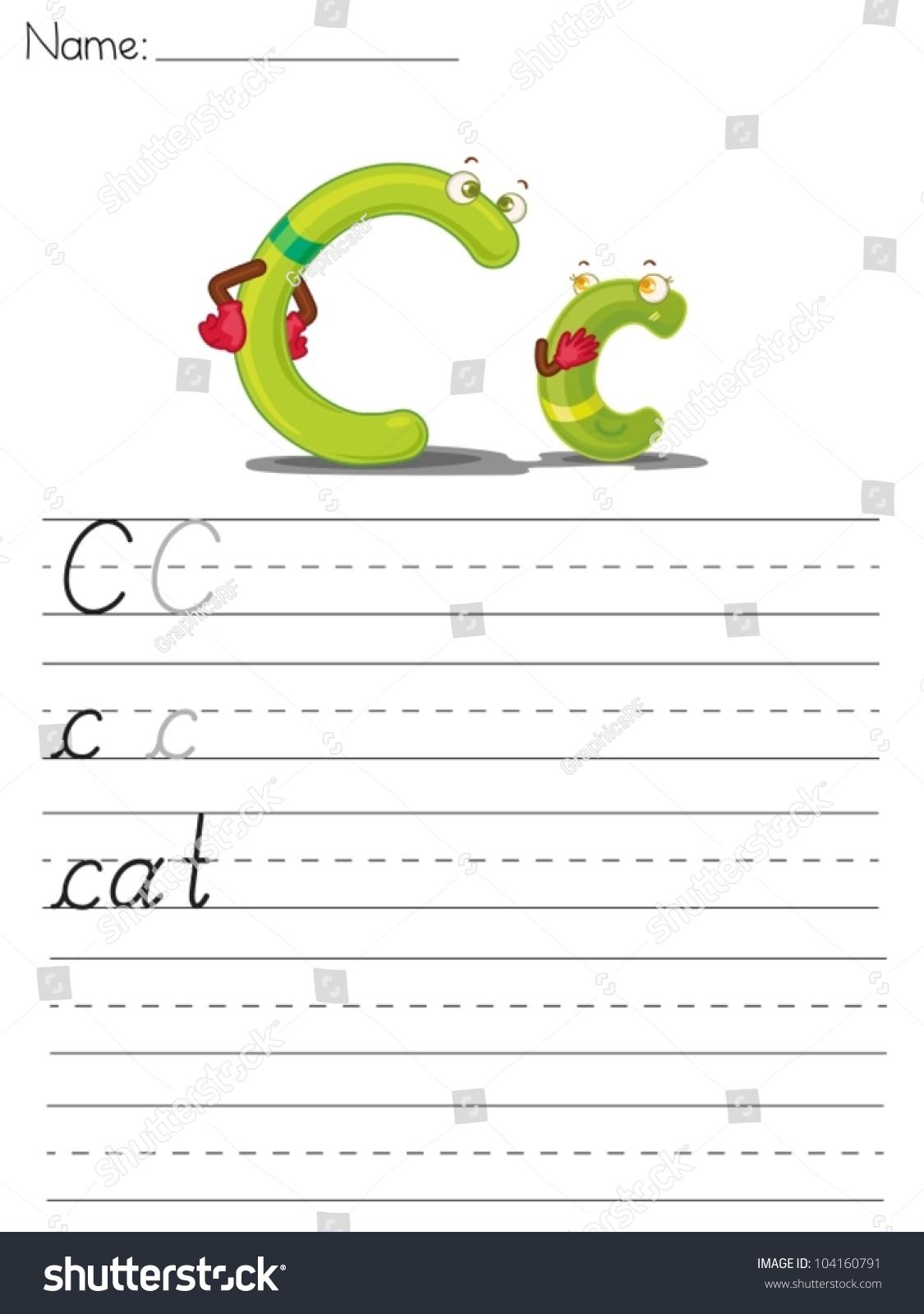 Illustrated Alphabet Worksheet Of The Letter C Stock