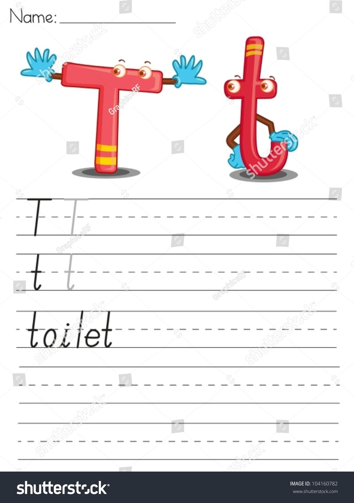 Illustrated Alphabet Worksheet Of The Letter T Stock