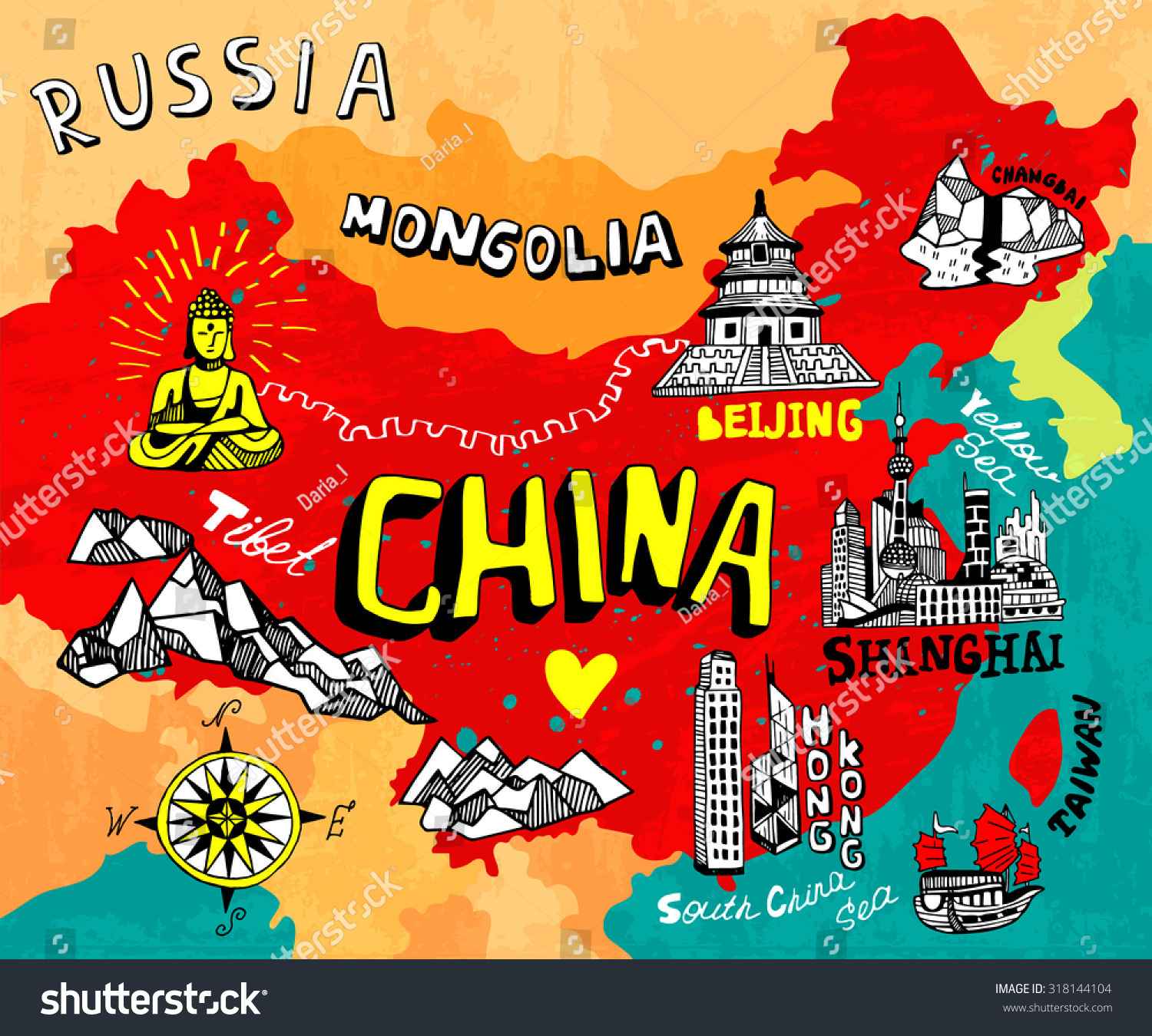 Illustrated Map Of China Stock Vector Illustration