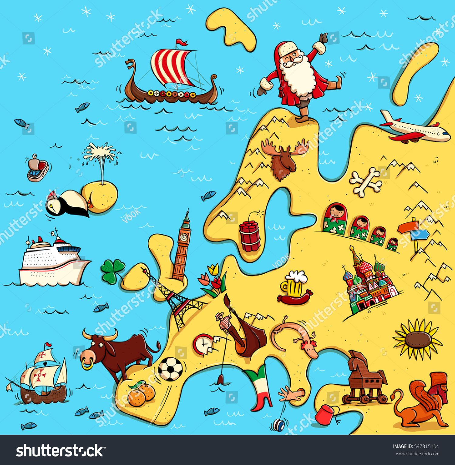 Illustrated Map Europe Funny Typical Objects Stock Vector