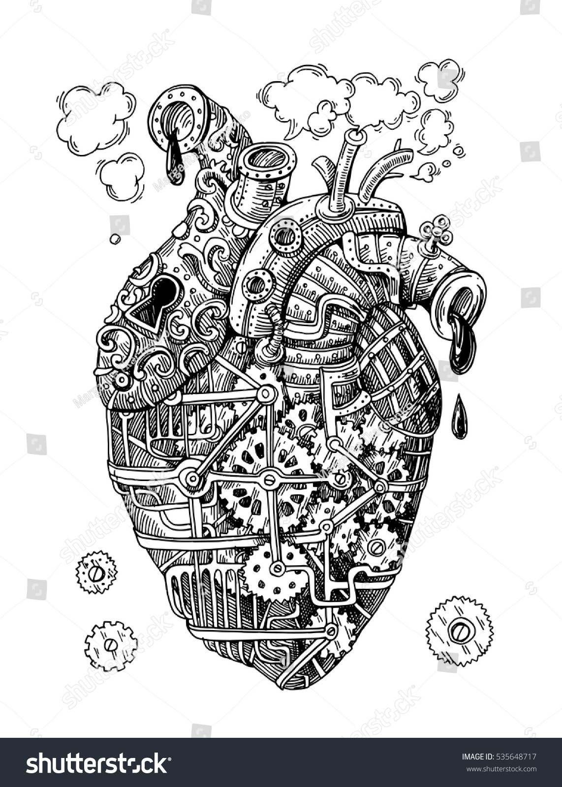 Illustration Mechanical Heart Hand Drawn Vector Stock