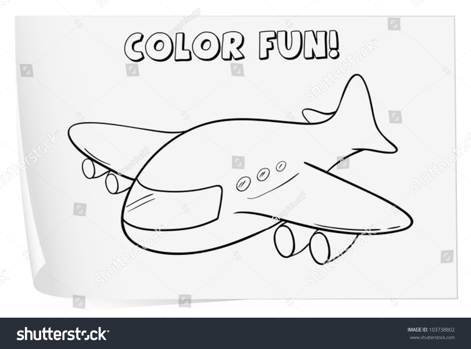 Illustration Colouring Worksheet Plane Stock Vector