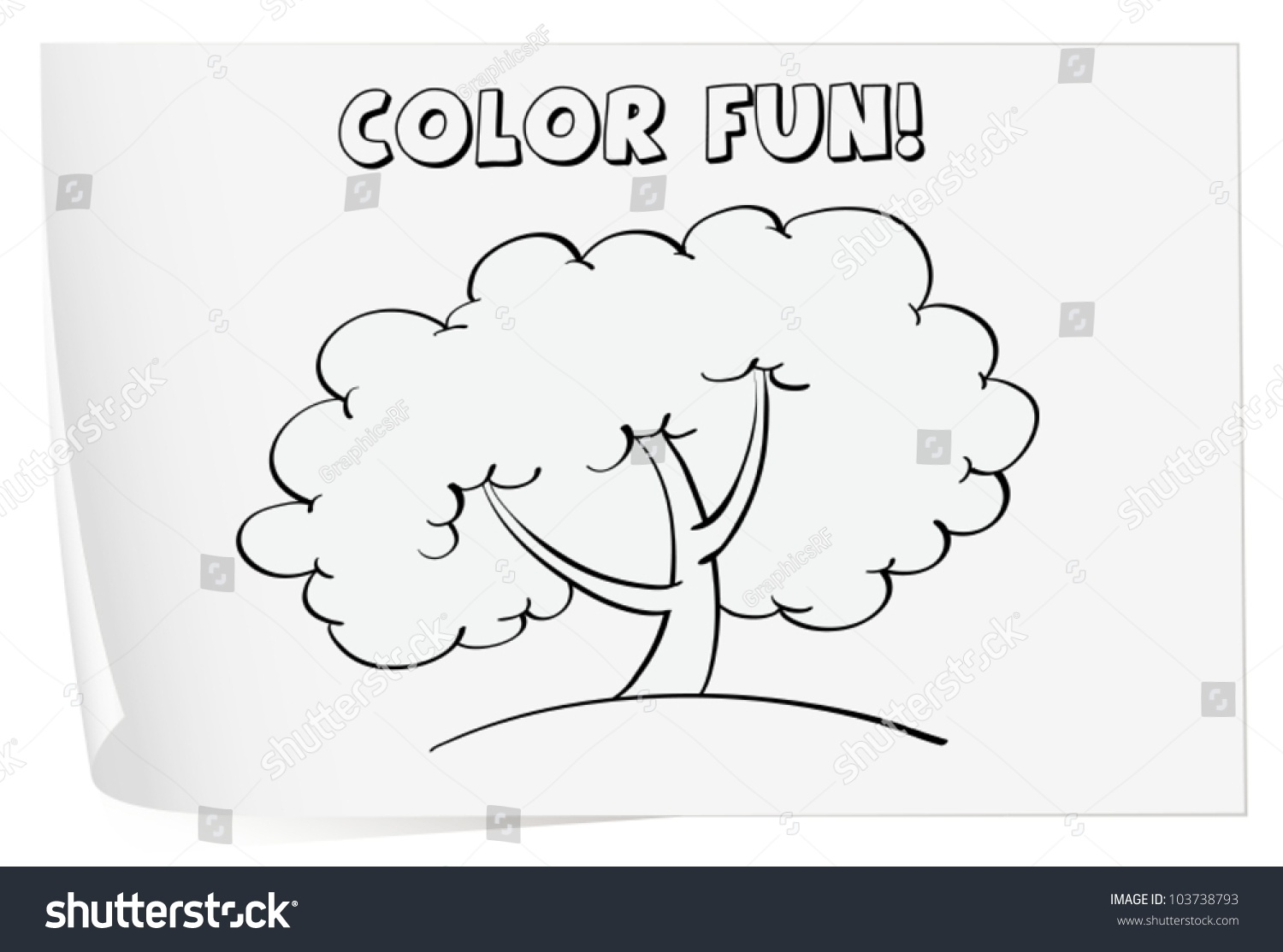 Illustration Of A Colouring Worksheet Tree