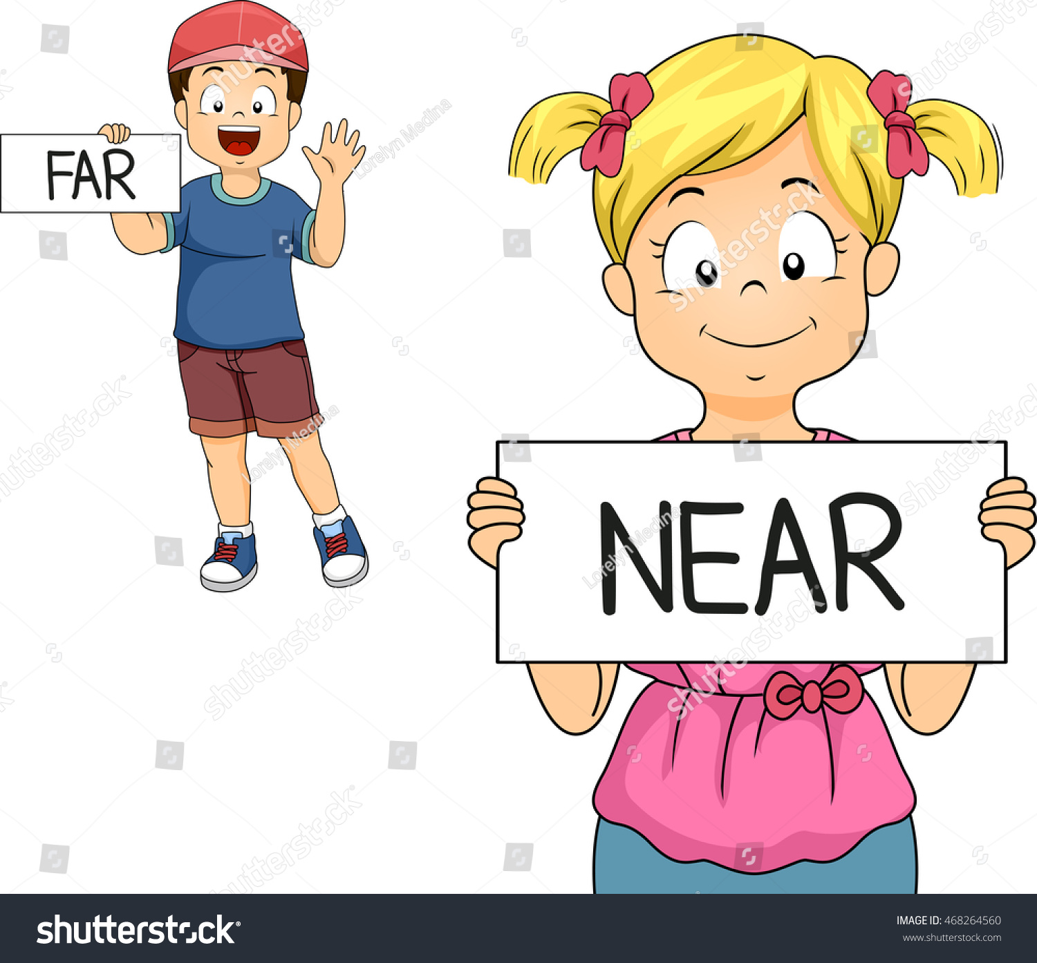 Illustration Of A Little Boy And Girl Demonstrating What