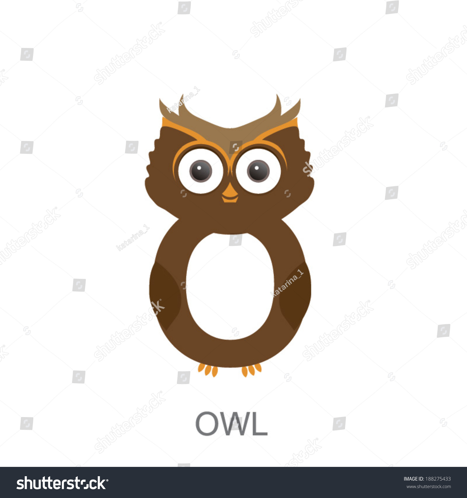 Illustration Isolated Animal Alphabet O Owl Stock Vector
