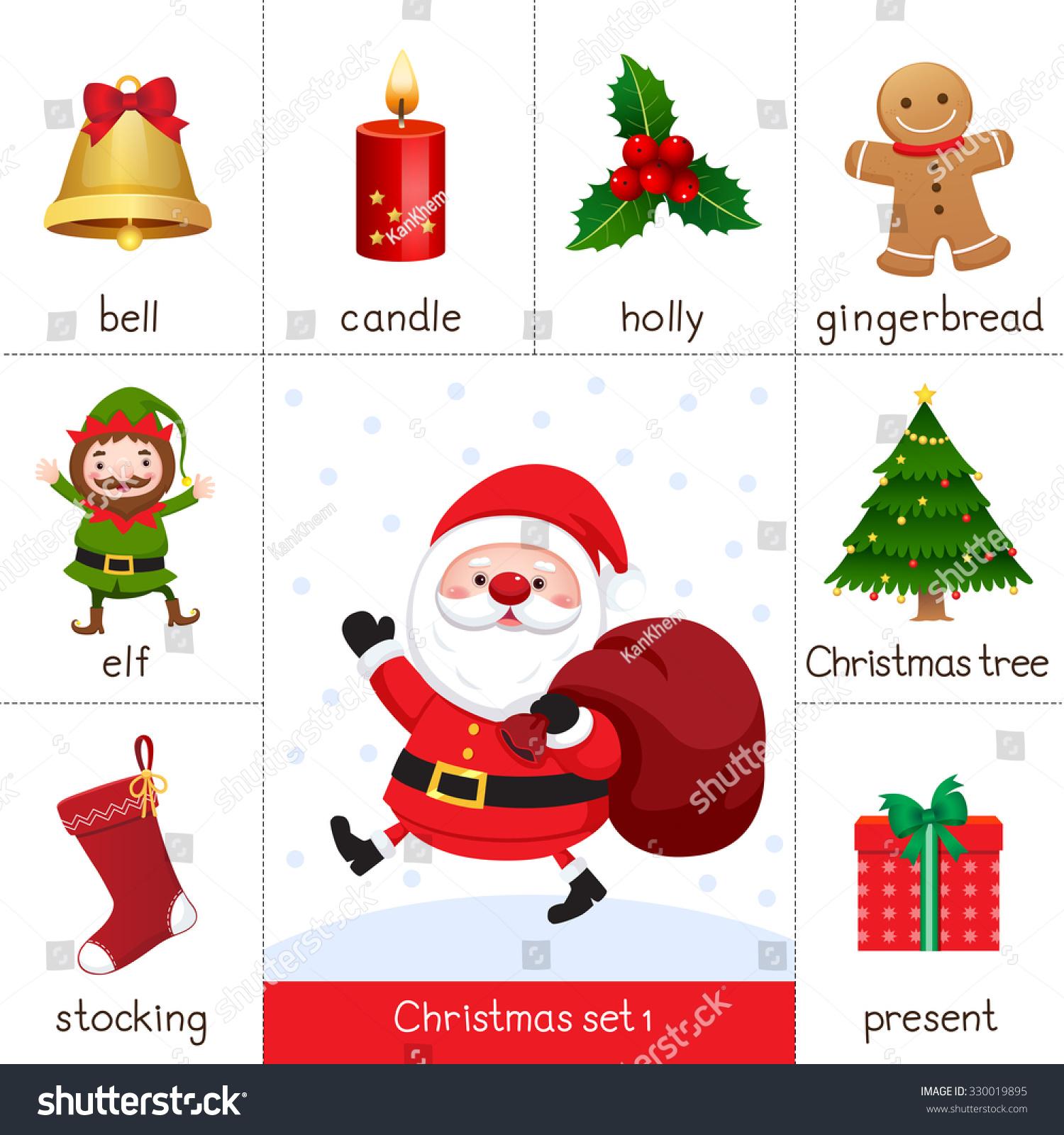 Illustration Printable Flash Card Christmas Set Stock