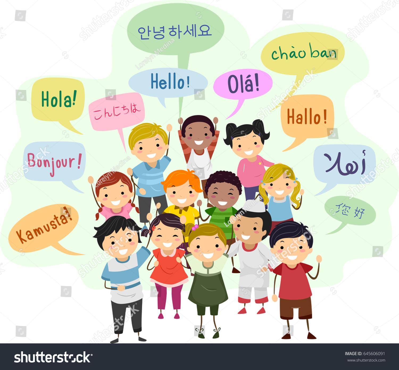Illustration Stickman Kids Speech Bubbles Saying Stock
