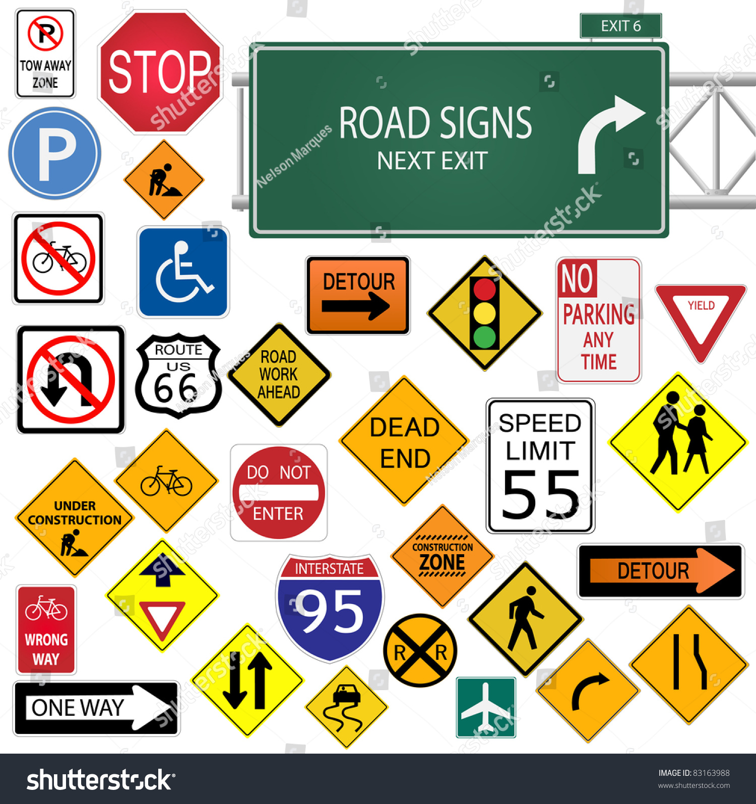 Image Various Road Signs Isolated On Stock Vector