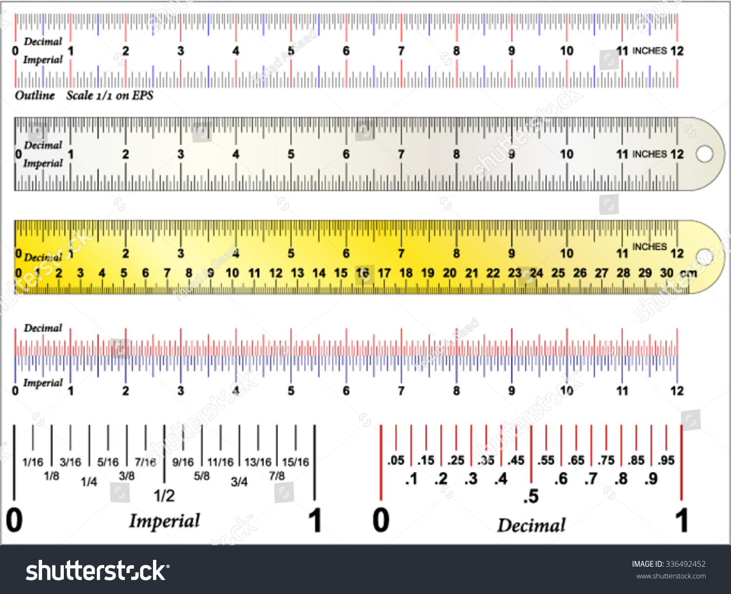 Imperial And Decimal Inch Ruler Stock Vector Illustration