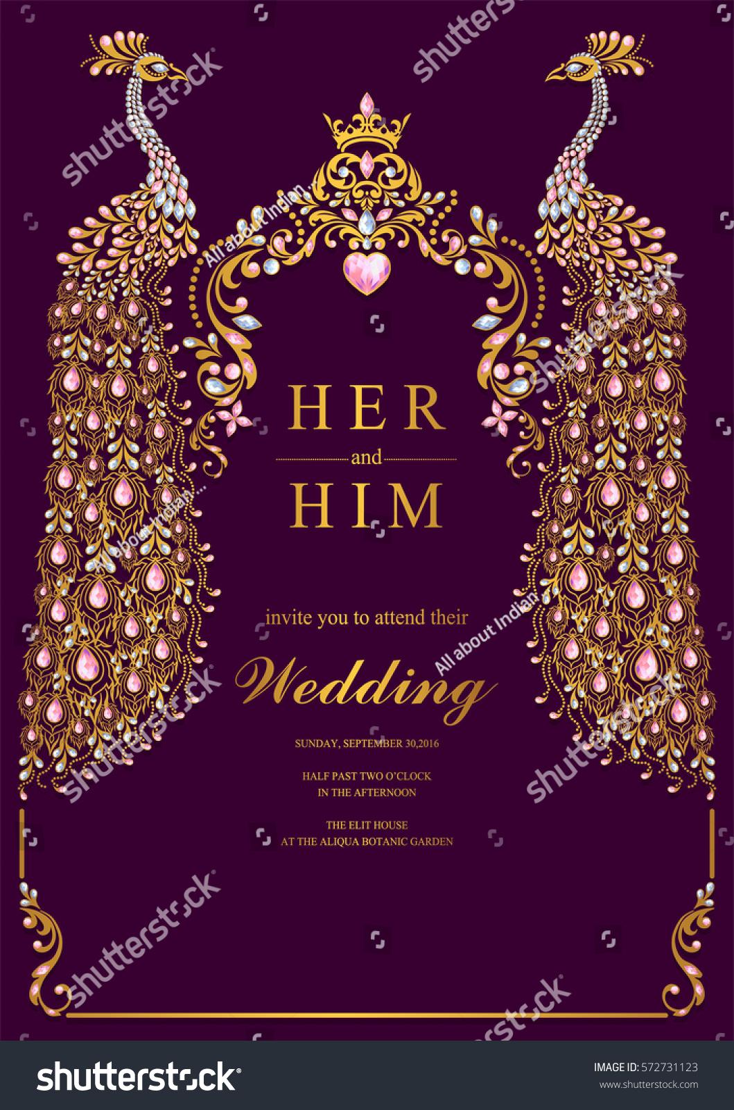 https www shutterstock com image vector indian wedding invitation card templates gold 572731123